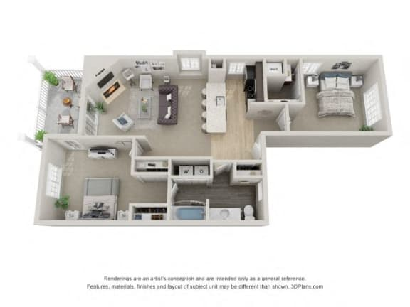 B3 3D Floor Plan at the Haven of Ann Arbor, MI, 48105