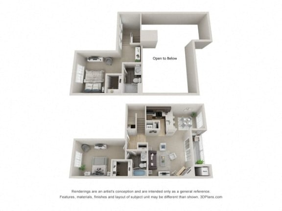 B5 Combined 3D Floor Plan at The Haven of Ann Arbor, Ann Arbor, MI