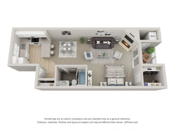Studio 3D Floor Plan at the Haven of Ann Arbor, 459 Village Green Blvd, Ann Arbor