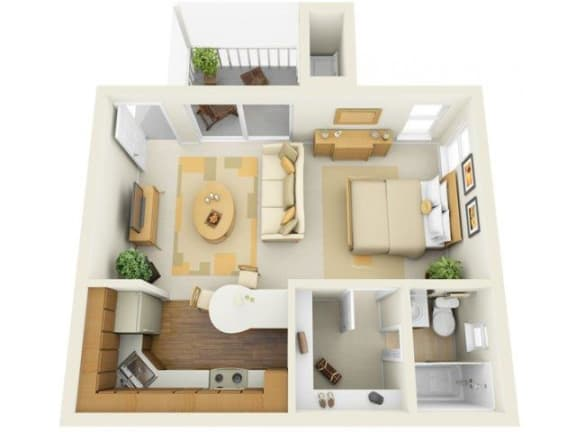 Lake in the Woods 0 bedroom 550 sq ft floor plan with kitchen, dining/living, 1 bathroom, closets, balcony/patio and storage