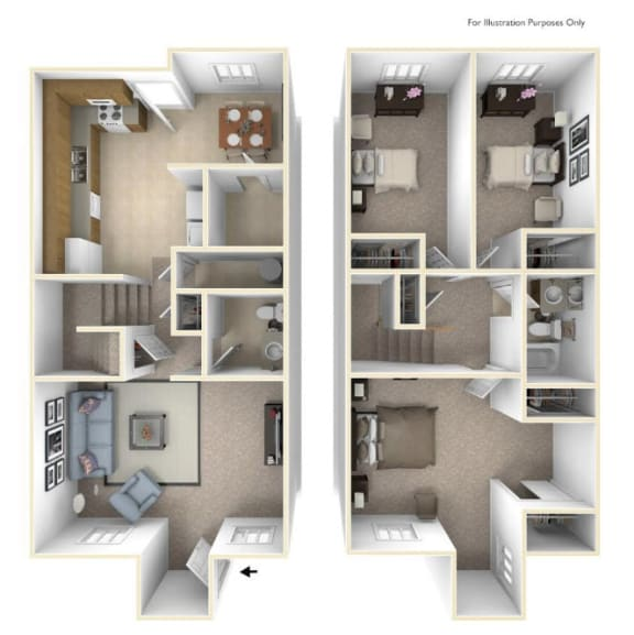 The Maple (Townhomes) Floor Plan at Cary Pines Apartments and Townhomes*, Cary, North Carolina