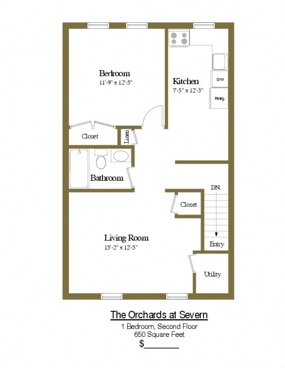1 bedroom 1 bathroom second floor townhome at Orchards at Severn