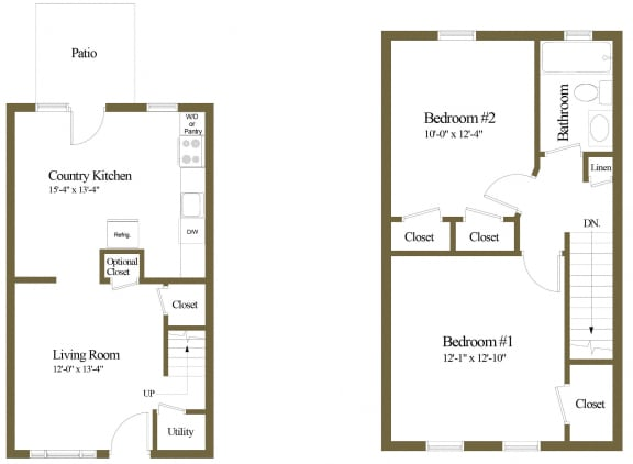 2 bedroom 1 bathroom floor plan at Orchards at Severn Townhomes in Severn, MD