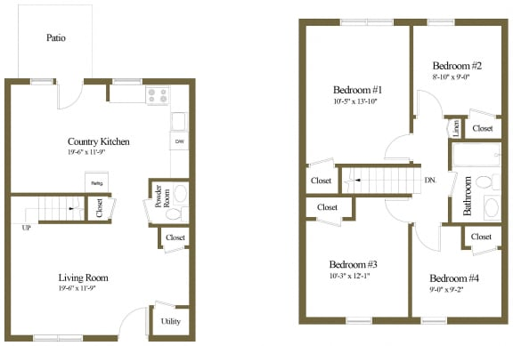 4 bedroom 1.5 bathroom floor plan at Orchards at Severn Townhomes in Severn, MD