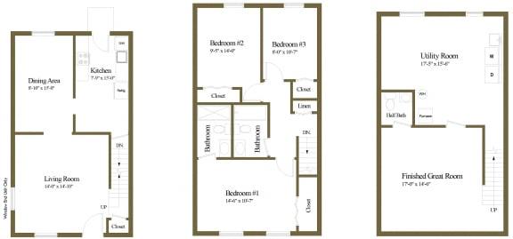 Floor Plan  3 bedroom 2.5 bathroom floor plan at Walnut Grove Townhomes in Essex, MD