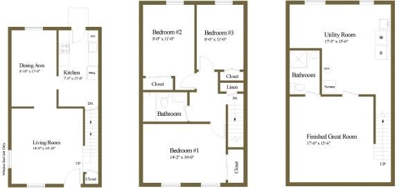 Floor Plan  3 bedroom 2 bathroom floor plan at Walnut Grove Townhomes in Essex