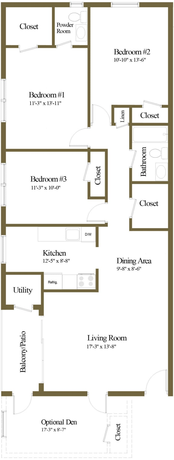 3 bedroom 1.5 bathroom with den floor plan at The Village of Pine Run Apartments in Windsor Mill, MD