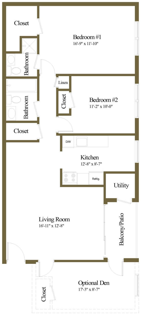 2 bedroom 2 bathroom floor plan at The Village of Pine Run Apartments in Windsor Mill, MD