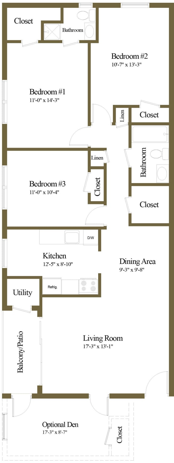 3 bedroom 2 bathroom with den floor plan at The Village of Pine Run Apartments in Windsor Mill, MD