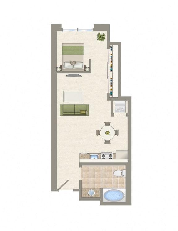 Floor Plan  jr1A Floor Plan at Wilshire Margot, Los Angeles, CA, 90024