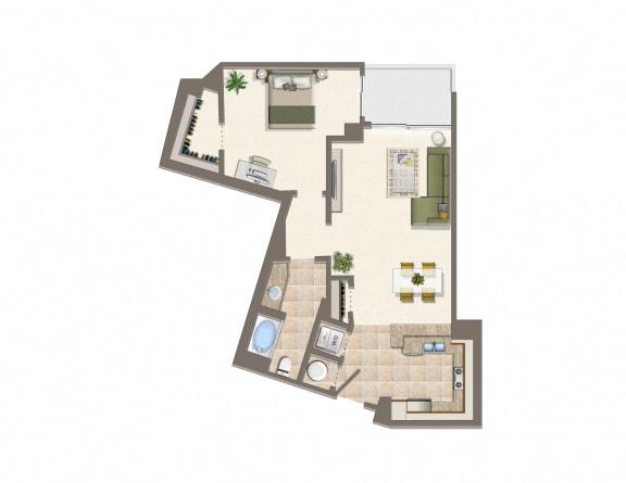 Floor Plan  L Floor Plan at Wilshire Margot, Los Angeles, CA, 90024