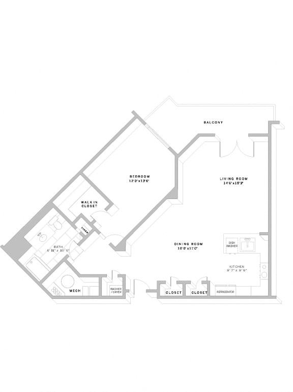 Floor Plan A3 at AVE Florham Park, Florham Park