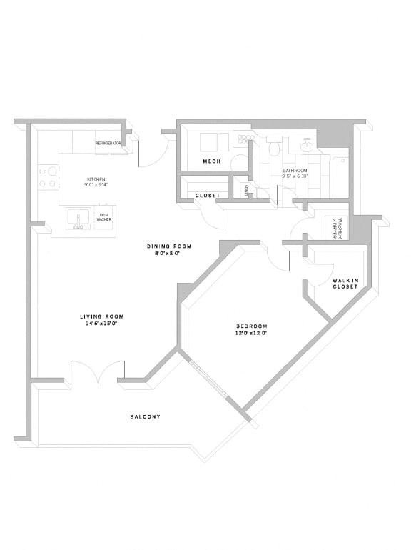 Floor Plan A7 at AVE Florham Park, Florham Park, NJ