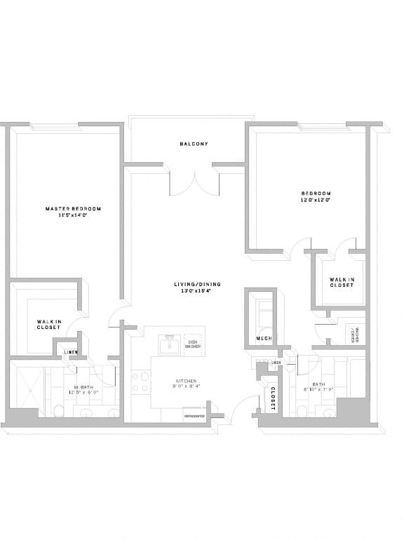 Floor Plan B1 at AVE Florham Park, Florham Park