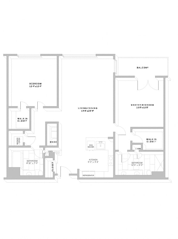 Floor Plan B2 at AVE Florham Park, New Jersey
