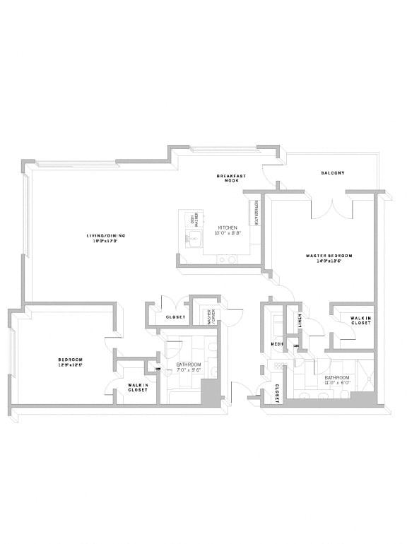 Floor Plan B4 at AVE Florham Park, Florham Park, NJ, 07932