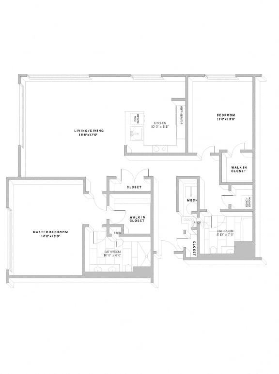 Floor Plan B6 at AVE Florham Park, Florham Park, 07932