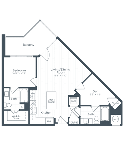 AD2 Floor Plan at Highgate at the Mile, Virginia, 22102
