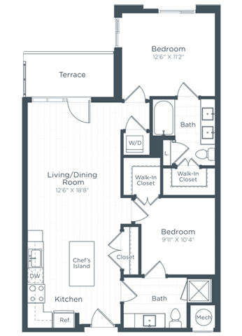 AD4 Floor Plan at Highgate at the Mile, McLean, 22102