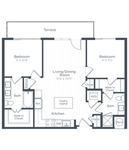 B1 Floor Plan at Highgate at the Mile, McLean, Virginia