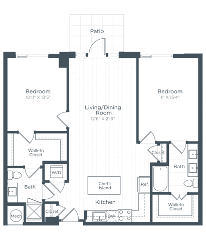 B3 Floor Plan at Highgate at the Mile, Virginia, 22102