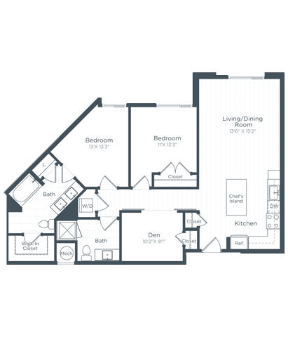 BD1 Floor Plan at Highgate at the Mile, Virginia, 22102