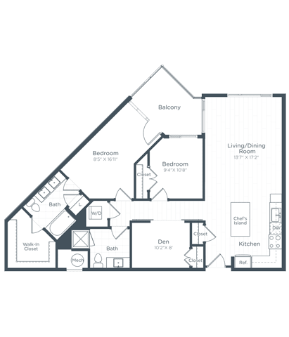 BD2 Floor Plan at Highgate at the Mile, McLean, Virginia