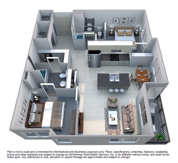 Avery 2 Bedroom 2 Bath Floorplan at Cycle Apartments, Ft. Collins, CO 80525