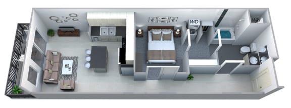 Floor Plan  Azalea 1 Bedroom 1 Bath Floorplan at Cycle Apartments, Ft. Collins, 80525