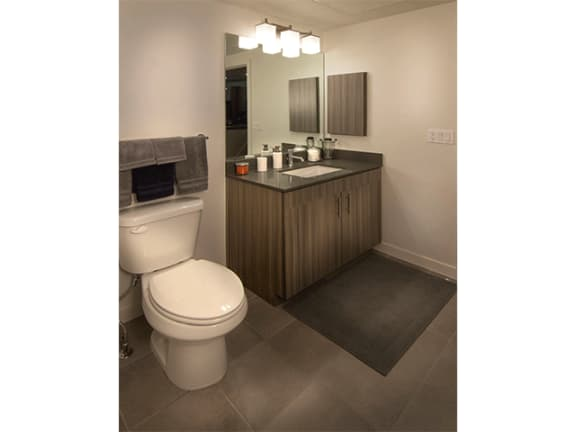 Custom Vanity With Sink And Lights at Cycle Apartments, Ft. Collins, 80525