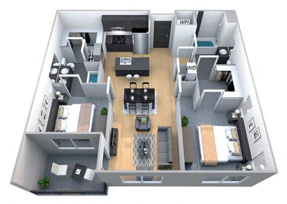Harvard 2 Bedroom 2 Bath Floorplan at Cycle Apartments, Ft. Collins
