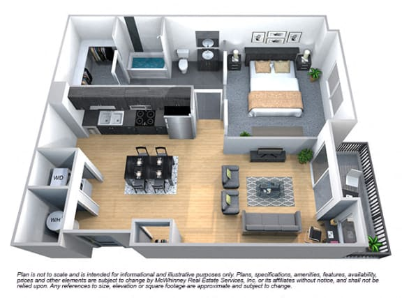 Floor Plan  Laurel 1 Bedroom 1 Bath Floorplan at Cycle Apartments, Colorado, 80525