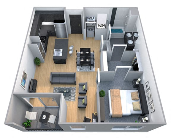Floor Plan  Lincoln 1 Bedroom 1 Bath Floorplan at Cycle Apartments, Ft. Collins, CO 80525