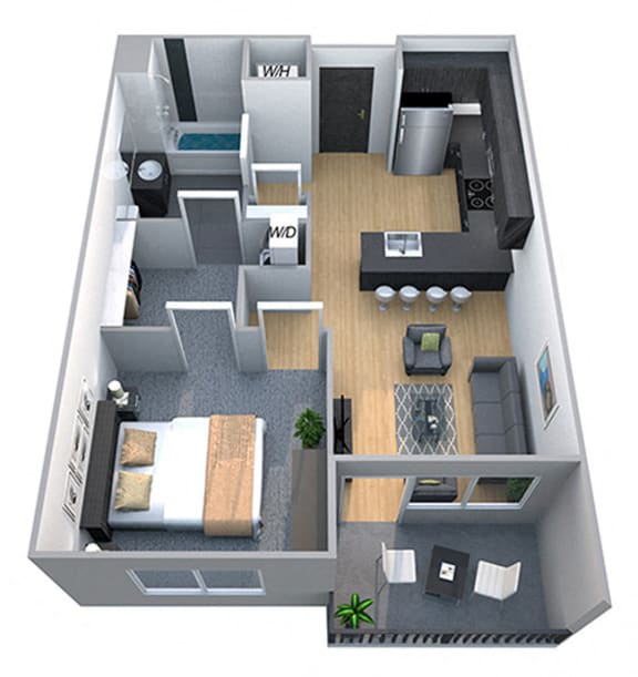 Floor Plan  Remington 1 Bedroom 1 Bath Floorplan at Cycle Apartments, Colorado