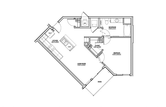 Harmony Floor plan at Cycle Apartments, Ft. Collins, CO