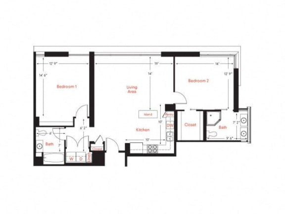 D-2 Floor Plan at Met Lofts, Los Angeles, CA, 90015