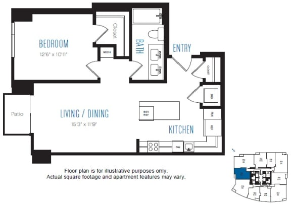 Floor Plan  A11 1 Bed 1 Bath Floor Plan at Stratus, Seattle, WA, opens a dialog