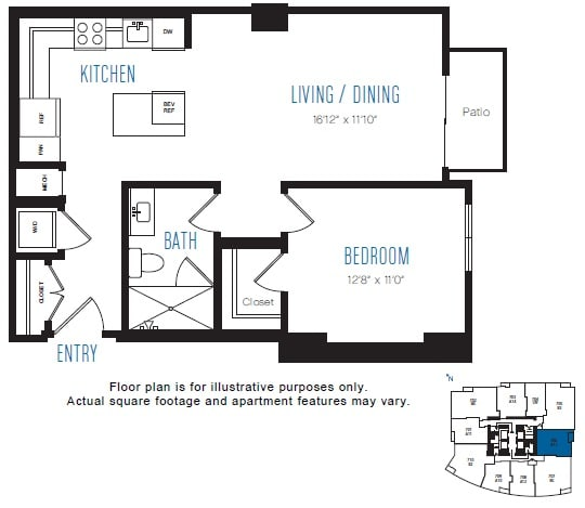 Floor Plan  A13 1 Bed 1 Bath Floor Plan at Stratus, Seattle, WA, opens a dialog