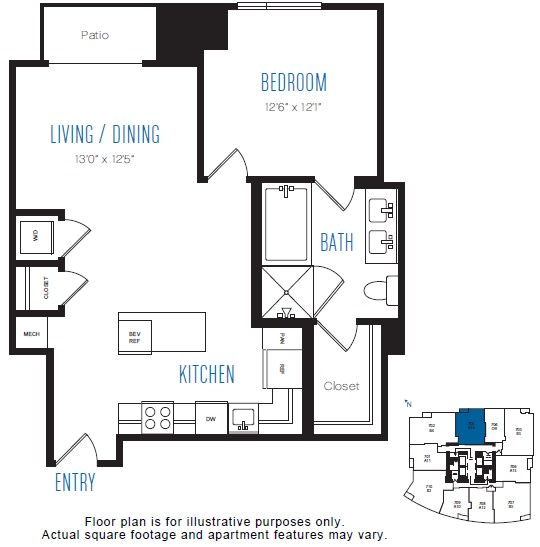 Floor Plan  A14 1 Bed 1 Bath Floor Plan at Stratus, Seattle, WA, opens a dialog