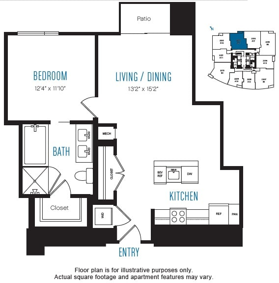 Floor Plan  A15 1 Bed 1 Bath Floor Plan at Stratus, Seattle, WA, opens a dialog