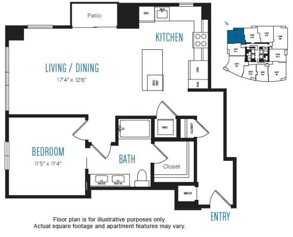 Floor Plan  A16 1 Bed 1 Bath Floor Plan at Stratus, Seattle, WA, opens a dialog