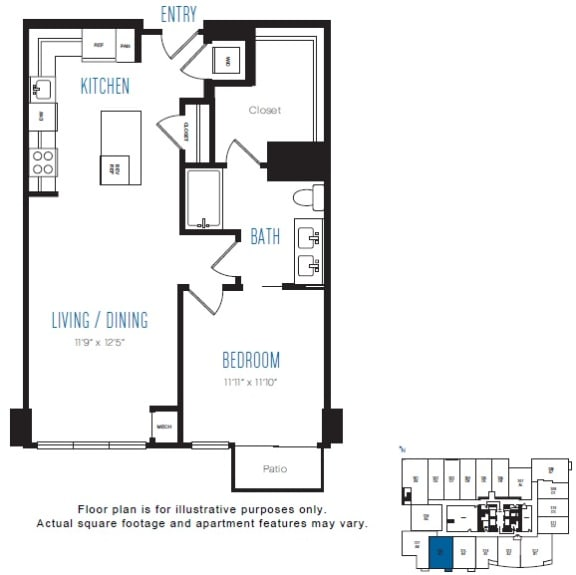 Floor Plan  A3 1 Bed 1 Bath Floor Plan at Stratus, Seattle, WA, opens a dialog