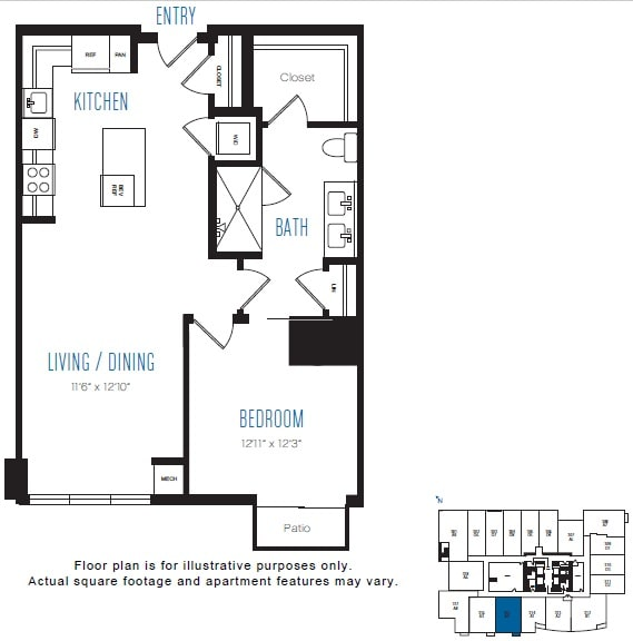 Floor Plan  A4 1 Bed 1 Bath Floor Plan at Stratus, Seattle, WA