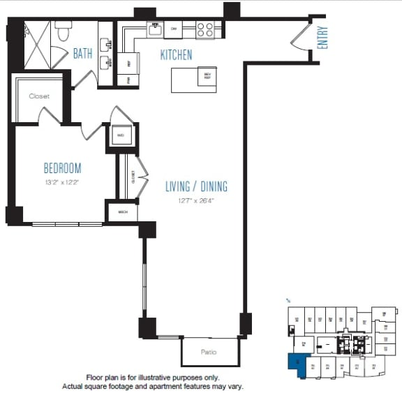 Floor Plan  A8 1 Bed 1 Bath Floor Plan at Stratus, Seattle, WA