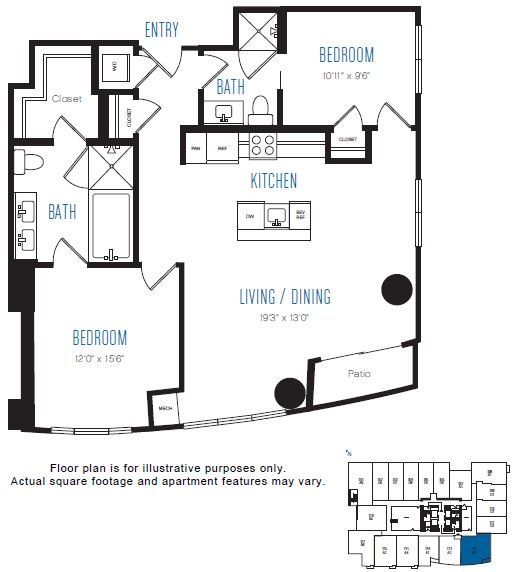 Floor Plan  B1 2 Bed 2 Bath Floor Plan at Stratus, Seattle, WA, opens a dialog