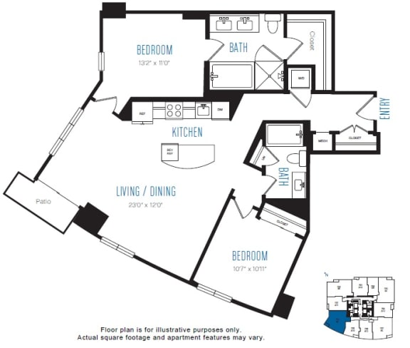 Floor Plan  B2 2 Bed 2 Bath Floor Plan at Stratus, Seattle, WA, opens a dialog