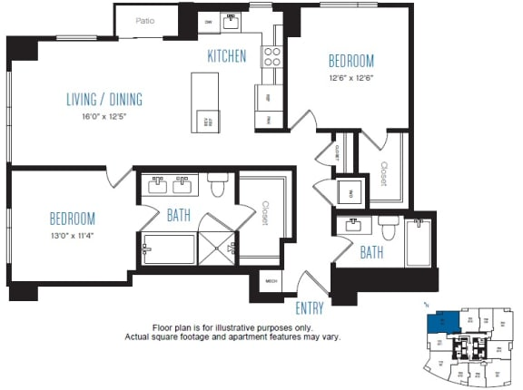 Floor Plan  B4 2 Bed 2 Bath Floor Plan at Stratus, Seattle, WA, opens a dialog