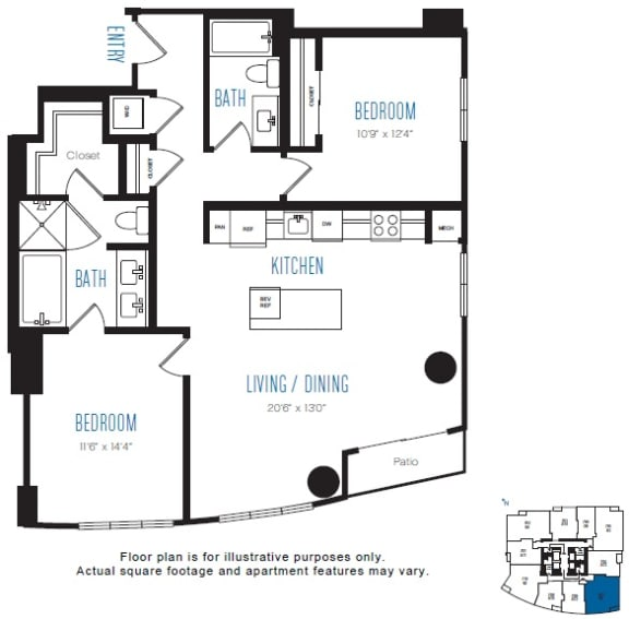 Floor Plan  B5 2 Bed 2 Bath Floor Plan at Stratus, Seattle, WA, opens a dialog