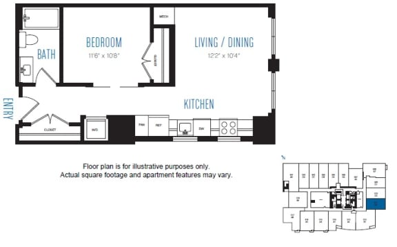 Floor Plan  O2 1 Bed 1 Bath Floor Plan at Stratus, Seattle, WA