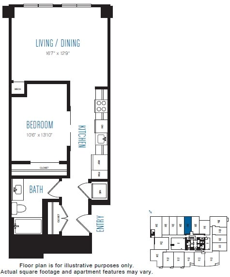 Floor Plan  O5 1 Bed 1 Bath Floor Plan at Stratus, Seattle, WA, opens a dialog